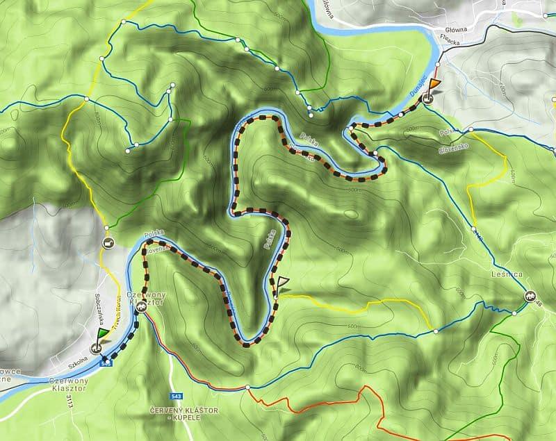 mapa szlaku Sromowce Niżne do Szczawnica Pienińską Ściezką