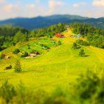 Widok na polanę na Palenicy - zjazd saneczkowy i schronisko