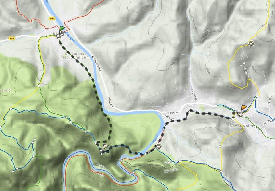 Szlak turystyczny z Krościenka do Szczawnicy, przez Sokolicę
