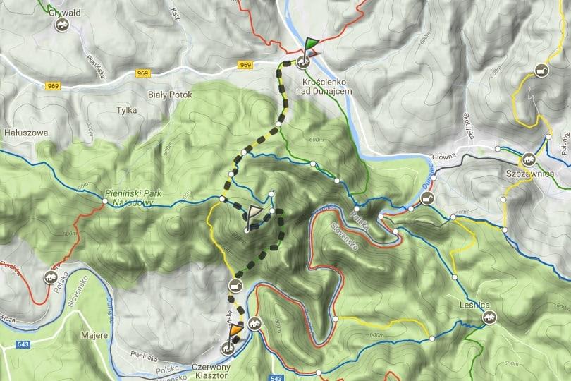 szlak turystyczny Kroscienko Nad Dunajcem - Sromowce Niżne