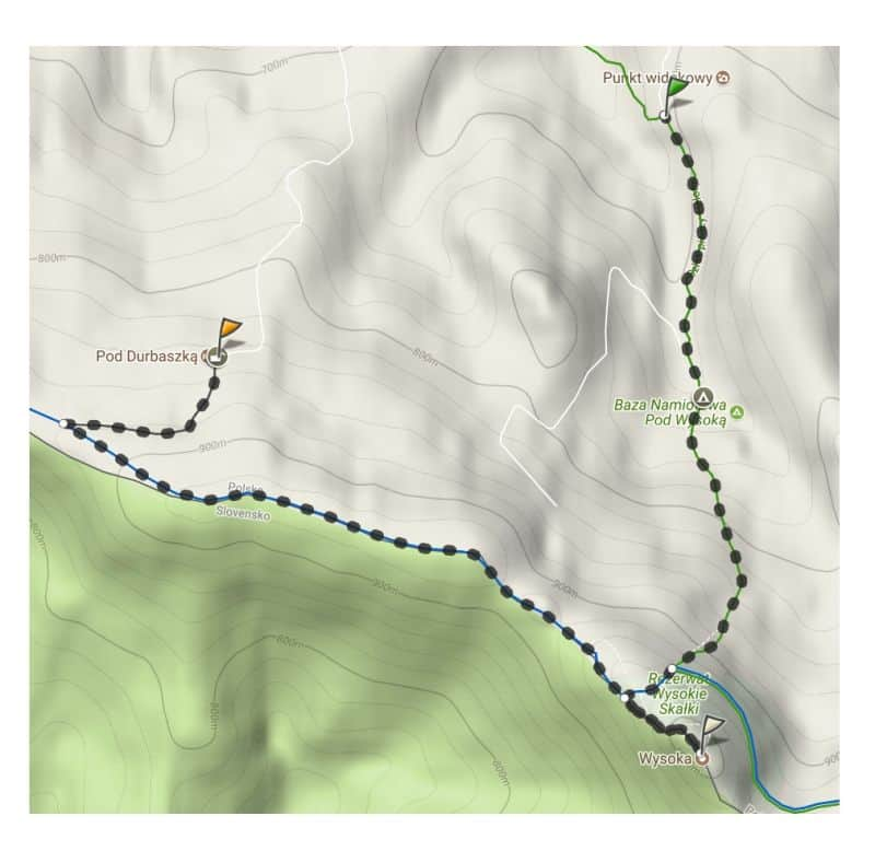 szlak turystyczny z Wąwozu Homole na szczyt Wysoka