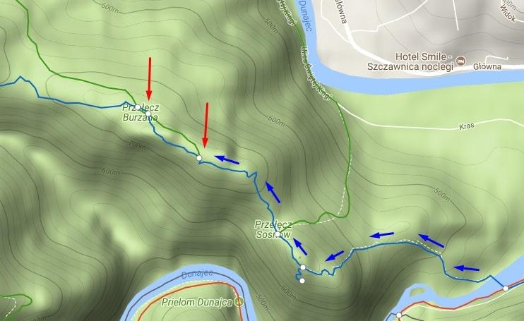 Mapa szlaku na Czertezik i Czerteż