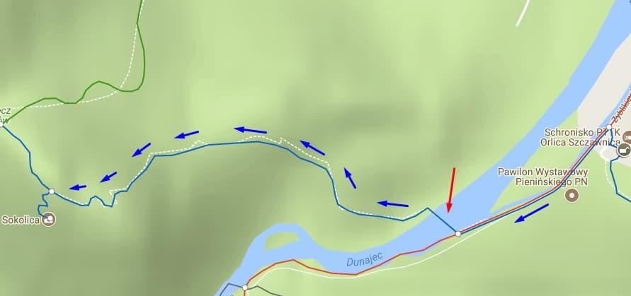 Szlak na Sokolice i przeprawa przez Dunajec