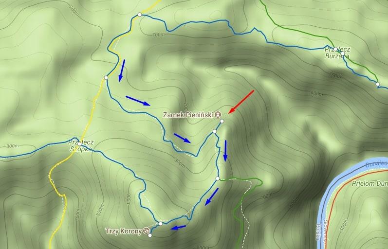 Szlak niebieski na Zamek Pieniński do Trzech koron