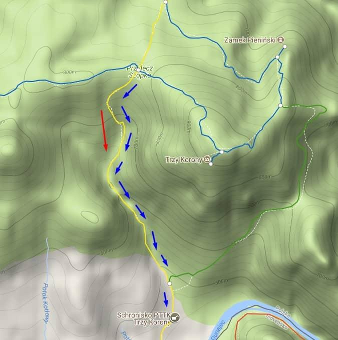 mapa szlaku przez wąwóz - parów szopczański