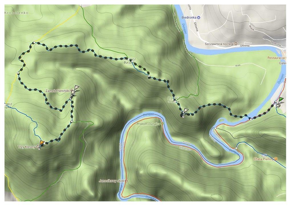 mapa szlaku ze Szczawnicy na Trzy korony (2)