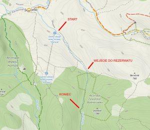 Mapa szlaku turystycznego przez Rezerwat Zaskalskie Bodnarówka w Pieninach